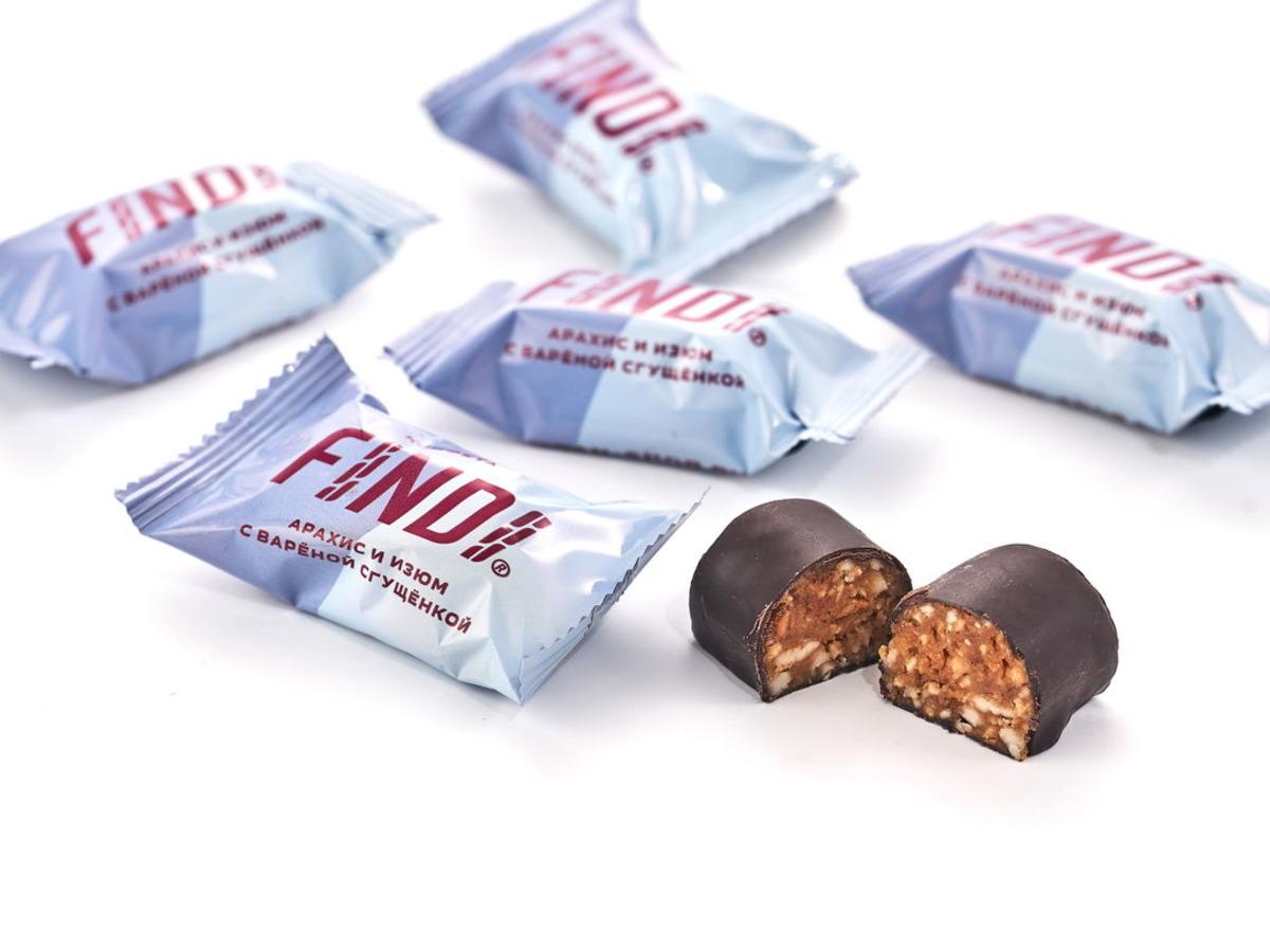 Конфеты FINDI арахис и изюм с варёной сгущёнкой в шоколадной глазури весовые