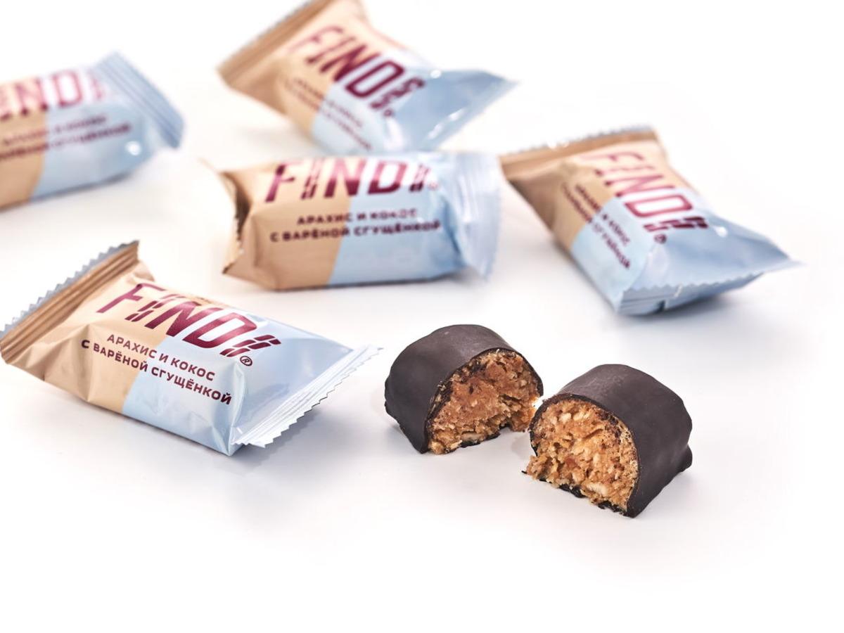 Конфеты FINDI кокос и арахис с варёной сгущенкой в шоколадной глазури весовые